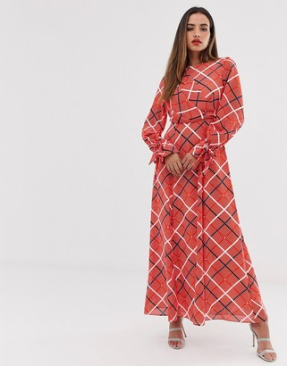 Asos Design DESIGN wrap maxi dress in textured check-Multi