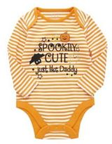 F&F Spookily Cute Slogan Long Sleeve Halloween Bodysuit, Newborn Unisex