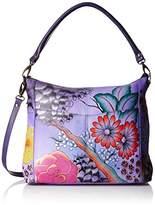 Anuschka Handpainted Leather Convertible Shoulder Bag Floral Safari Purple