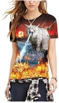 Wowforu Unisex Star Squad Digital Print Short Sleeve Crewneck T-Shirt Tops
