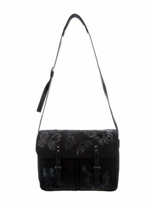 Valentino Butterfly Canvas Messenger Bag Black