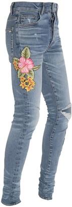 Amiri 15cm Flower Patch Broken Denim Jeans
