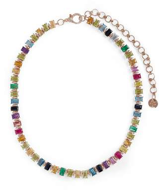 Shay Rose Gold, Diamond and Gemstone Rainbow Eternity Necklace