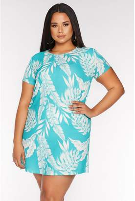 Quiz Curve Turquoise Tropical Print Tunic Dress