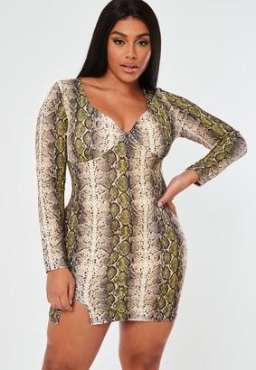 Missguided Plus Size Yellow Snake Print Mini Dress