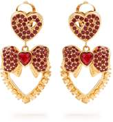 Dolce & Gabbana Heart drop crystal-embellished earrings