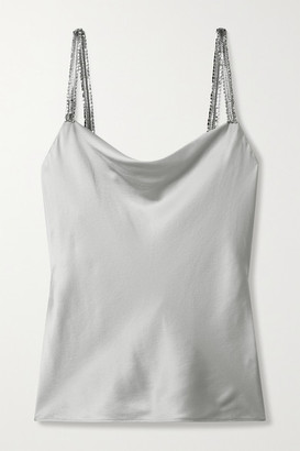 CAMI NYC Felicity Crystal-embellished Silk-blend Charmeuse Camisole - Silver