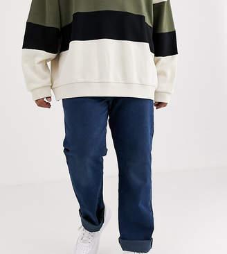 Levi's Big & Tall 501 original straight fit standard rise jeans in ironwood overdye dark wash-Blue