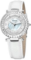 Tidoo Watches Candy Lady Series Womens Luxury Dress Wrist Watch Japaneses Miyota 2035 Quartz Movement 3ATM Water Resistant Staintless Steel Silver Tone Case White Mother Pearl Nacre Analog Dial Rhinestone Inlay White Simulated Leather Strap Band,Best Gift for Lady Girl Friend Lover Birthday Anniversary Valentine's Day