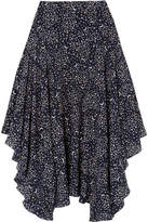 Stella McCartney Asymmetric Printed Silk Crepe De Chine Midi Skirt - Navy