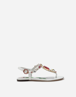 Dolce & Gabbana Patent Leather Flip Flops With Stone Embroidery