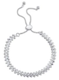 Unwritten V-Shape Link Fine Silver Plated Adjustable Bolo Bracelet