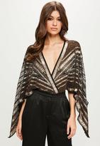 Black Kimono Embellished Bodysuit, Gold