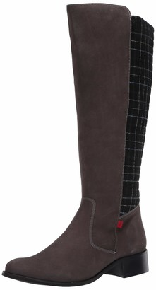 Marc Joseph New York Women's Genuine Leather Luxury High Top Riding Boot with Plaid Detail Knee
