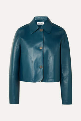 Loewe Cropped Leather Jacket - Navy