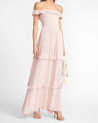 Express Off The Shoulder Ruffle Maxi Dress
