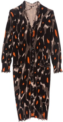 R 13 TS Long Cotton Leopard Cardigan in Grey/Orange Leopard