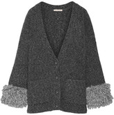 Christopher Kane Fringed Mélange Knitted Cardigan - Dark gray