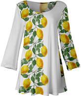 Lily Women's Tunics YLW - Yellow & White Lemon Scoop-Neck Flared Tunic - Women & Plus