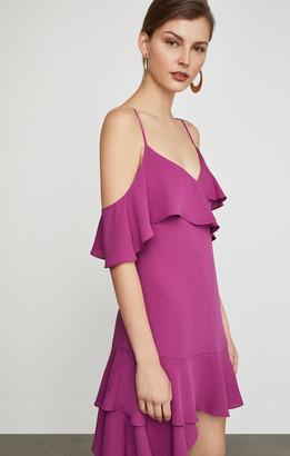 BCBGMAXAZRIA Asymmetric Ruffle A-Line Dress
