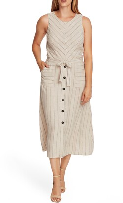 Vince Camuto Natural Stripe Sleeveless Linen Blend A-Line Dress