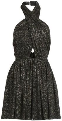 Saint Laurent Crisscross Lurex Mini Dress