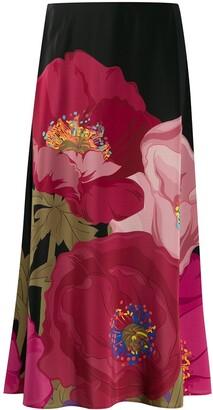 Valentino Macro Poppi print full skirt