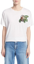 Oscar de la Renta T-Shirt with Beaded Monkey