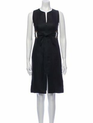 Valentino Linen Knee-Length Dress Black