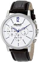 Ingersoll Quartz Portland Men's Quartz Watch with Silver Dial Chronograph Display and Black Leather Strap INQ016WHSL