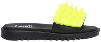 Spiked Two Tone Leather Slide Sandals