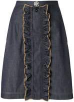 No.21 ruffled denim skirt
