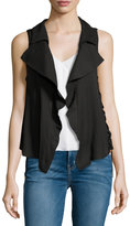 Moon River Split-Back Lace-Up Vest, Black