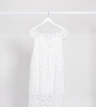 Chi Chi London Maternity bardot lace midi dress in white