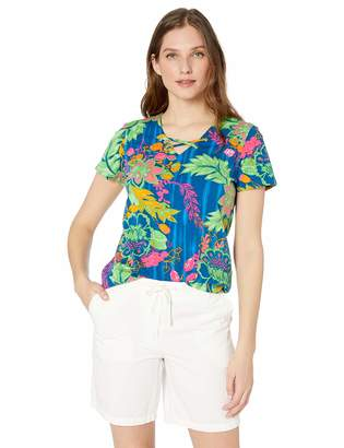 Caribbean Joe Women's Short Sleeve Essential Criss Cross Top