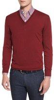 Ermenegildo Zegna High-Performance Merino Wool V-Neck Sweater, Red