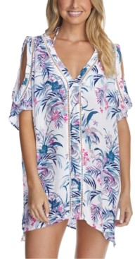Raisins Juniors' Paraiso Printed Samba Caftan Cover-Up Women's Swimsuit