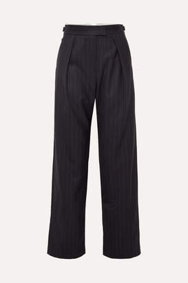 Wright Le Chapelain - Pinstriped Wool Wide-leg Pants - Navy