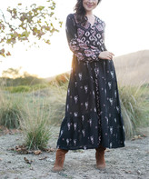Ananda's Collection Women's Casual Dresses black - Black Floral Embroidered Lace Maxi Peasant Dress - Women