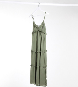 Miss Selfridge Petite tiered maxi dress in khaki