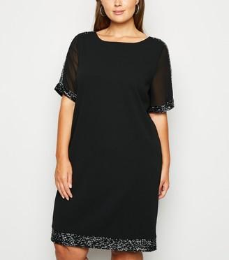 New Look Curves Mesh Sequin Trim Shift Dress