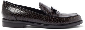 Fabrizio Viti Keaton Bow Crocodile-effect Leather Loafers - Dark Brown