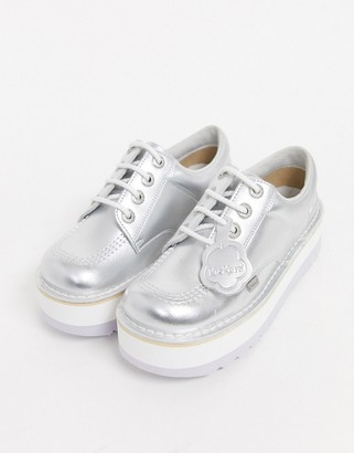 Kickers low stack leather flat shoes in silver