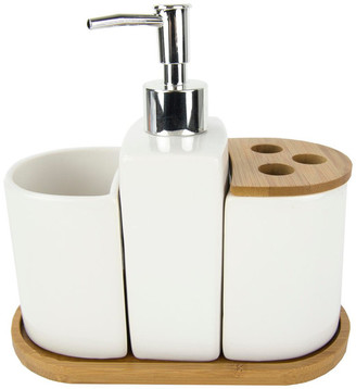 Home Basics 4-Piece Ceramic Bath Accessory Set, Bamboo Accents