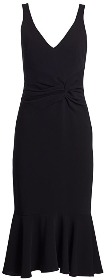 Cinq à Sept Adira Ruffle Knotted-Front Sheath Dress