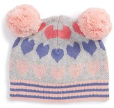 Tucker + Tate Toddler Girl's Double Pompom Intarsia Knit Hat - Pink
