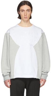 Maison Margiela White and Grey Embroidered Logo Sweatshirt