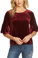 CeCe Women's Bell Sleeve Velvet Top