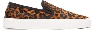 Saint Laurent Venice Leopard-print Calf-hair Slip-on Trainers - Womens - Leopard