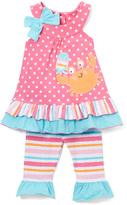 Nannette Pink & Teal Crab Tunic & Leggings - Infant Toddler & Girls